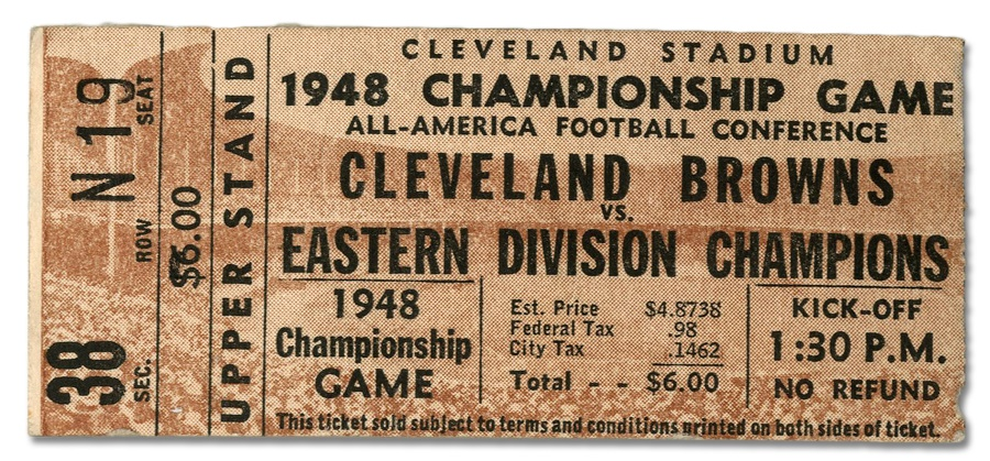 1948 AAFC Championship Game Ticket