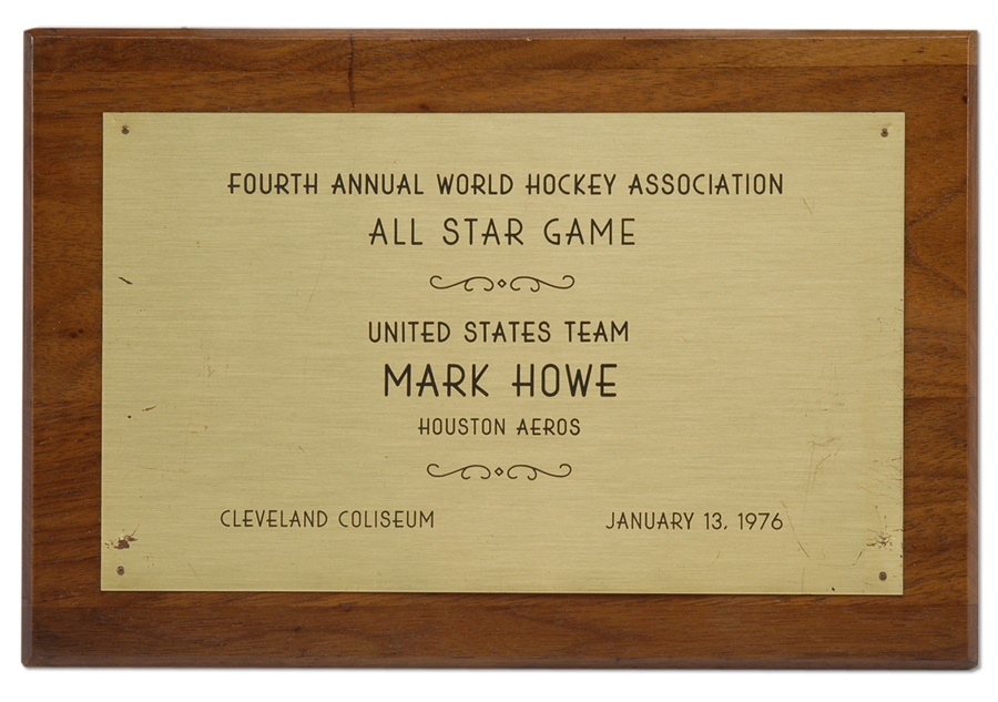 1976 Mark Howe WHA All Star Game Plaque