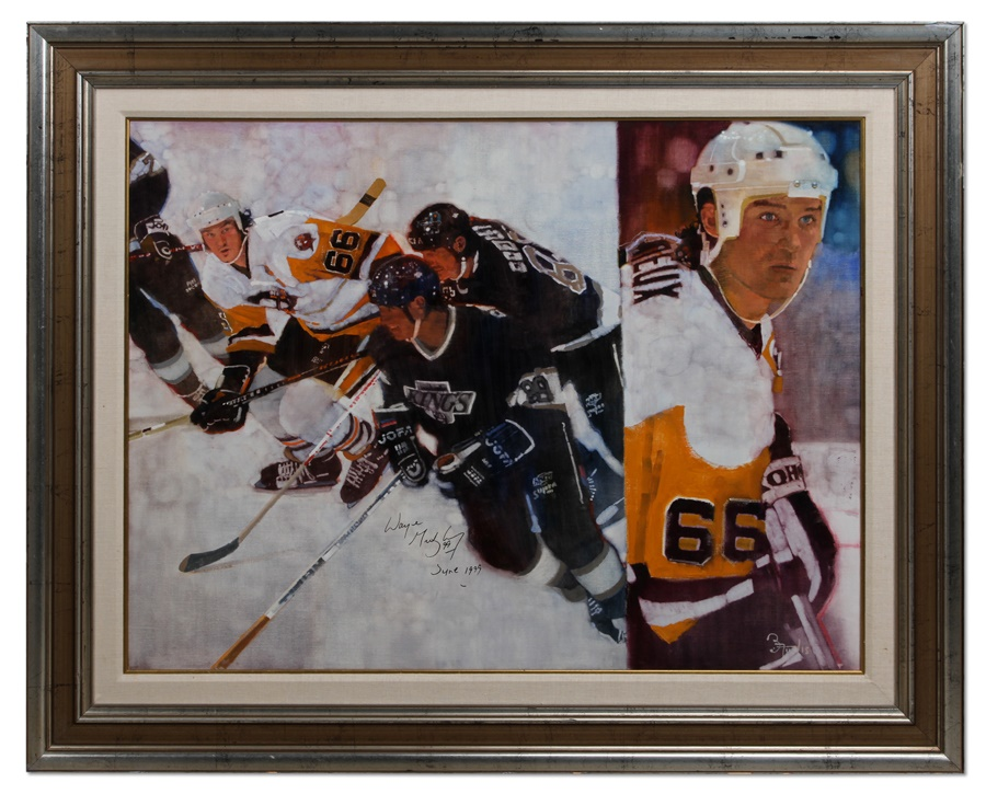 Original Mario Lemieux Painting by Bernie Fuchs Signed By Gretzky