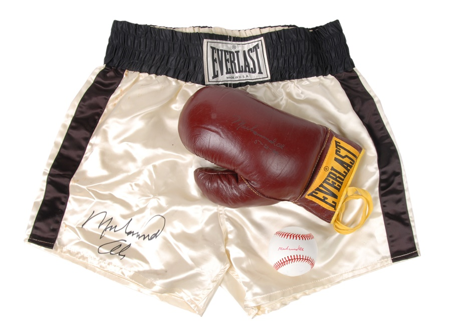 Muhammad Ali Signed Trunks, Glove and Baseball