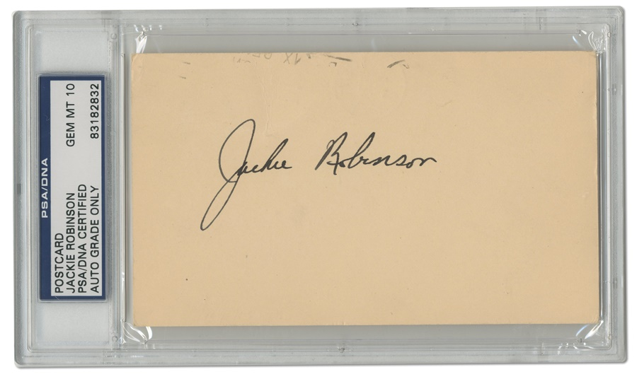 Jackie Robinson Signed Government Postcard (PSA GEM MT 10)