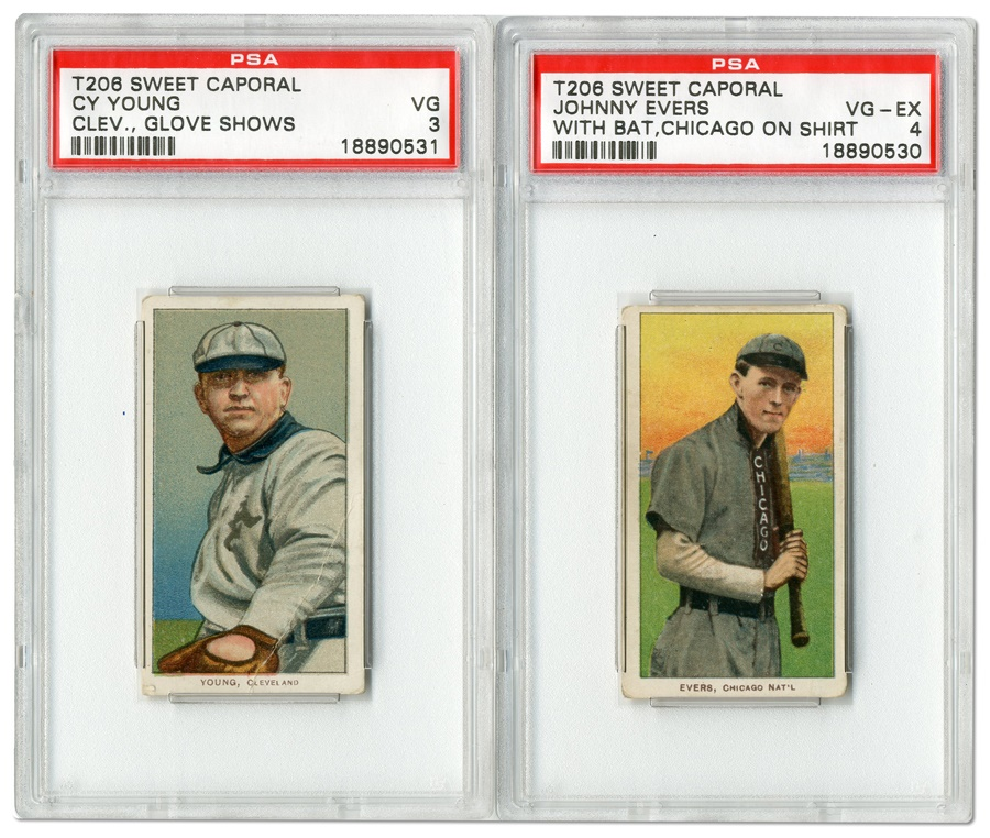 1909 T206 Cards of Cy Young and Johnny Evers