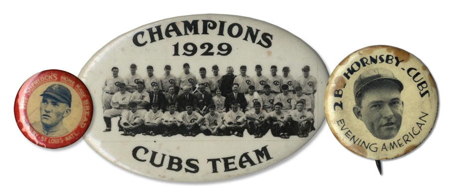 Rogers Hornsby and 1929 Cubs Pins (3)