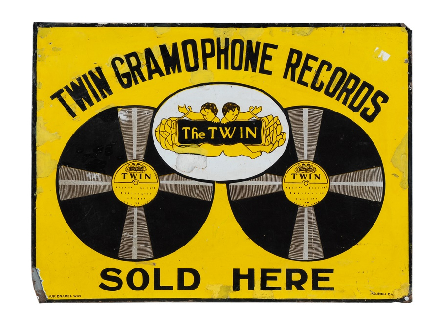 Twin Gramophone Records Porcelain Sign