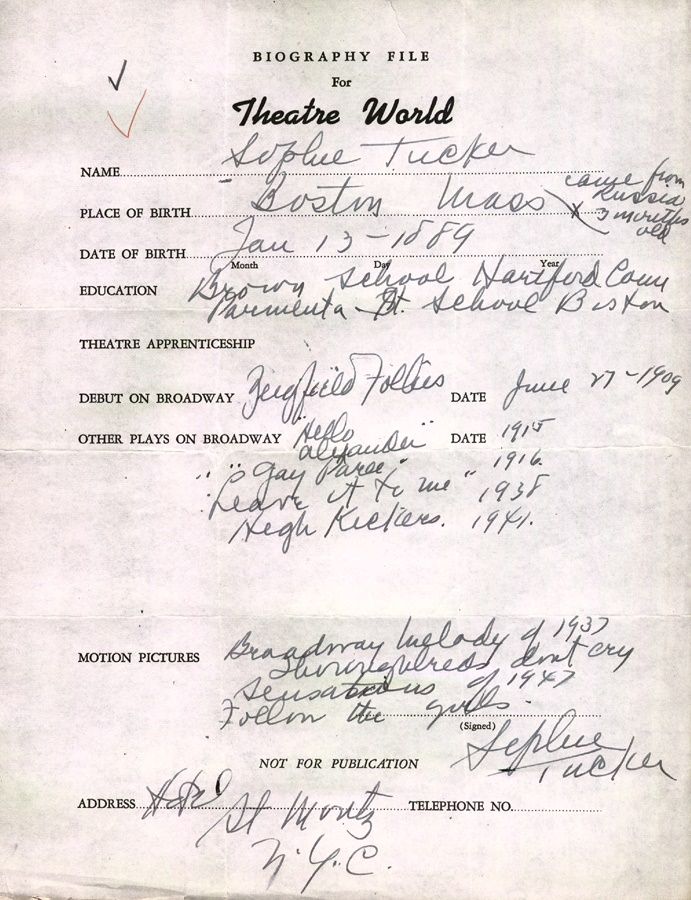 Sophie Tucker Signed Biographical Sheet