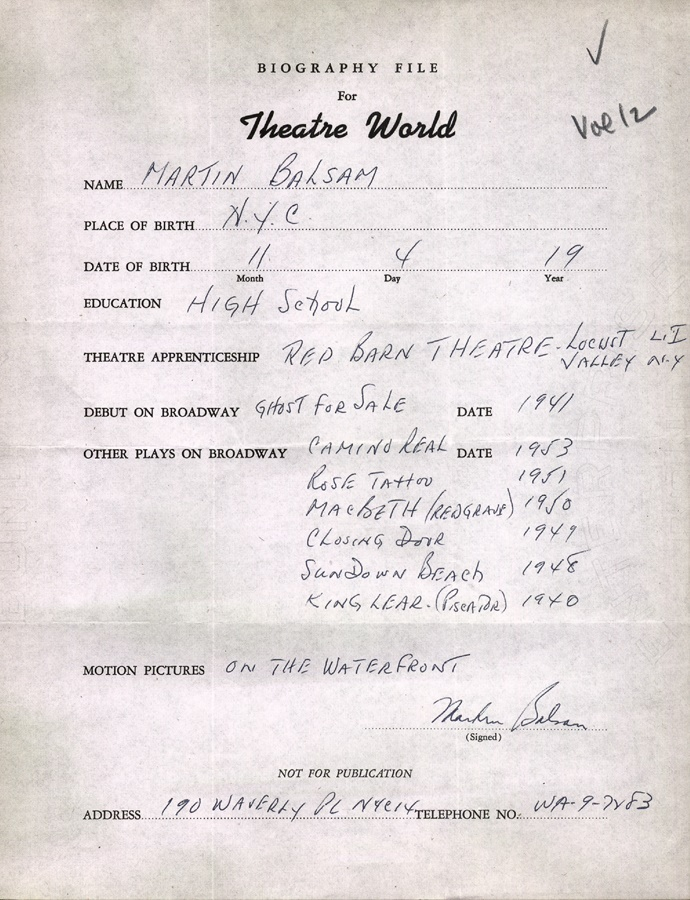 Theater World Biographies - auction