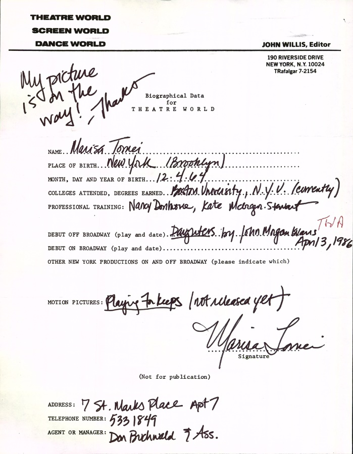 Marisa Tomei Signed Biographical Sheet