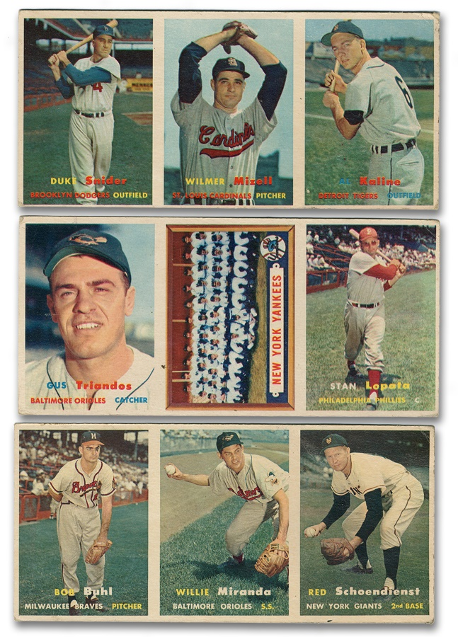 1957 Topps Baseball Advertising Cards (3)