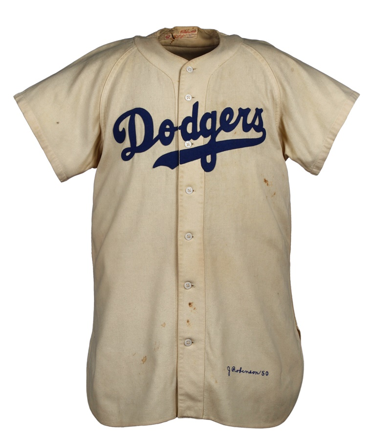 half off 91f11 a36e9 1950 Jackie Robinson Brooklyn Dodgers Game Worn Jersey