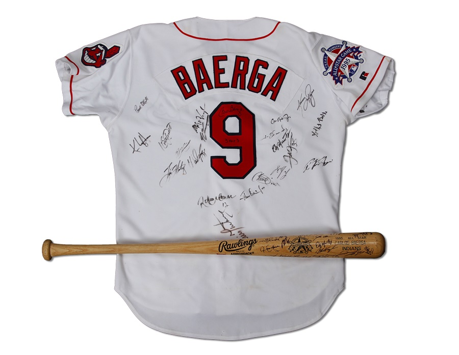 1995 Carlos Baerga Team Signed Game Worn All Star Jersey and Bat