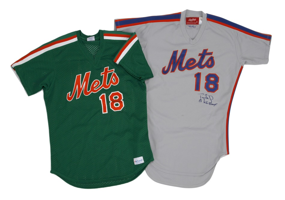 Darryl Strawberry Met's Signed Game Used Jersey Pair