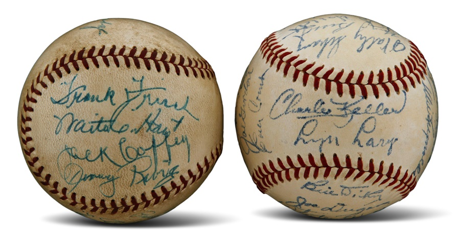 NY Yankees Greats Signed Baseball Including Frank Baker And Old Timers Signed Ball