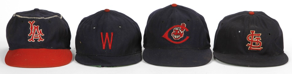 Major League Baseball Cap Collection Including Cardinals, Indians, Senators and Angels