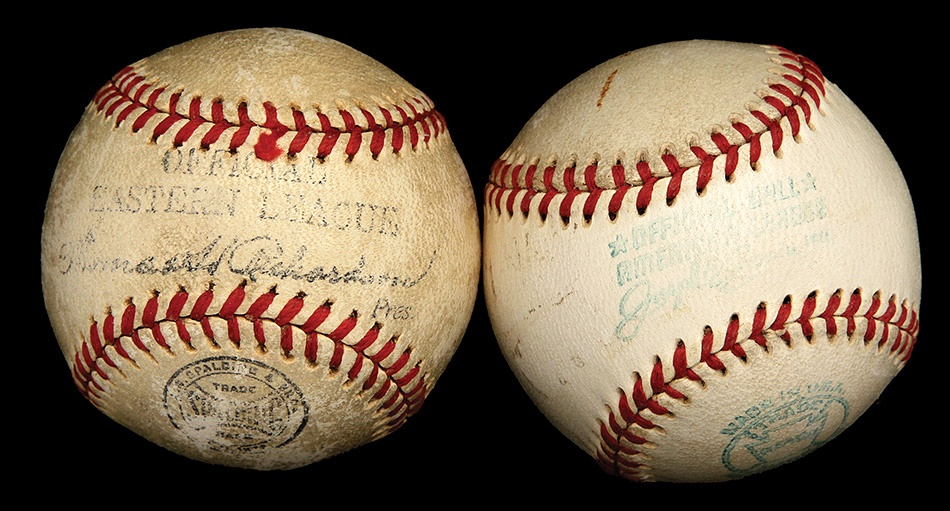 Pair of Salesman Sample Baseballs Including Eastern League