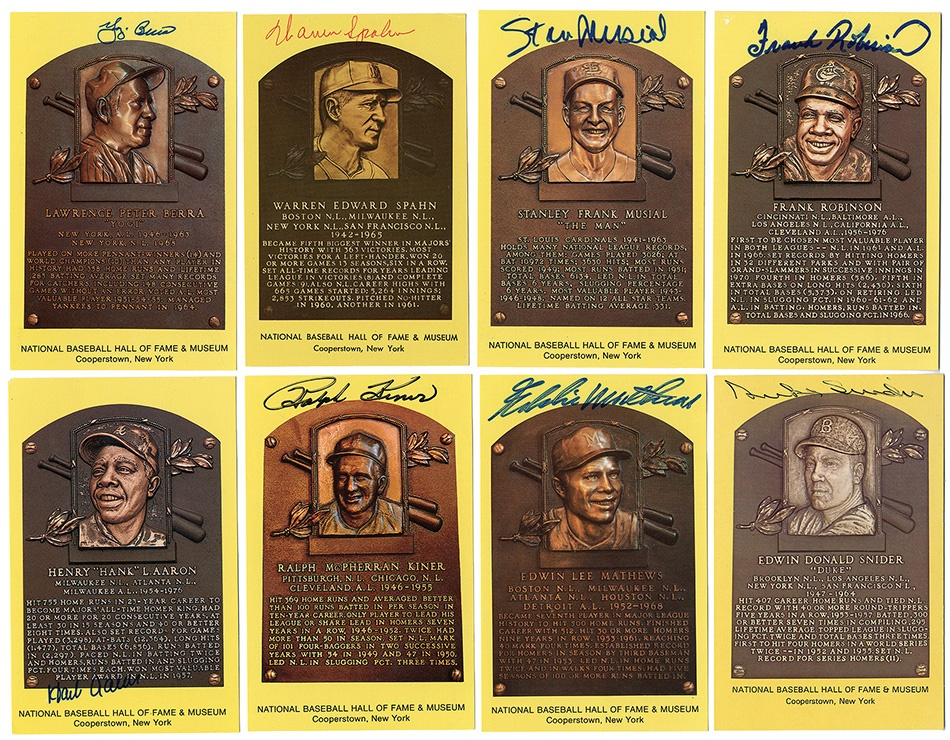 National Baseball Hall of Fame Plaque Signed Postcards (60)