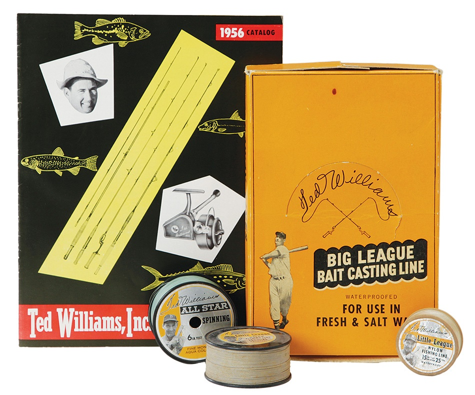 Ted Williams Photographic Fishing Line Display Box, Line, And Catalog