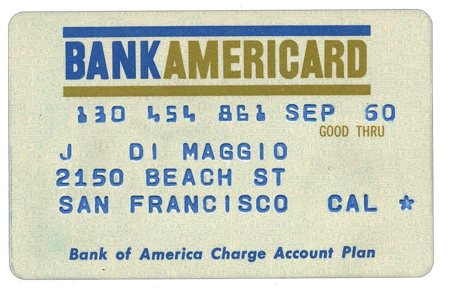 Joe DiMaggio 1960 Bank Americard Credit Card