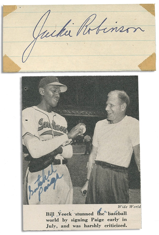 Jackie Robinson and Satchel Paige Signed Pair