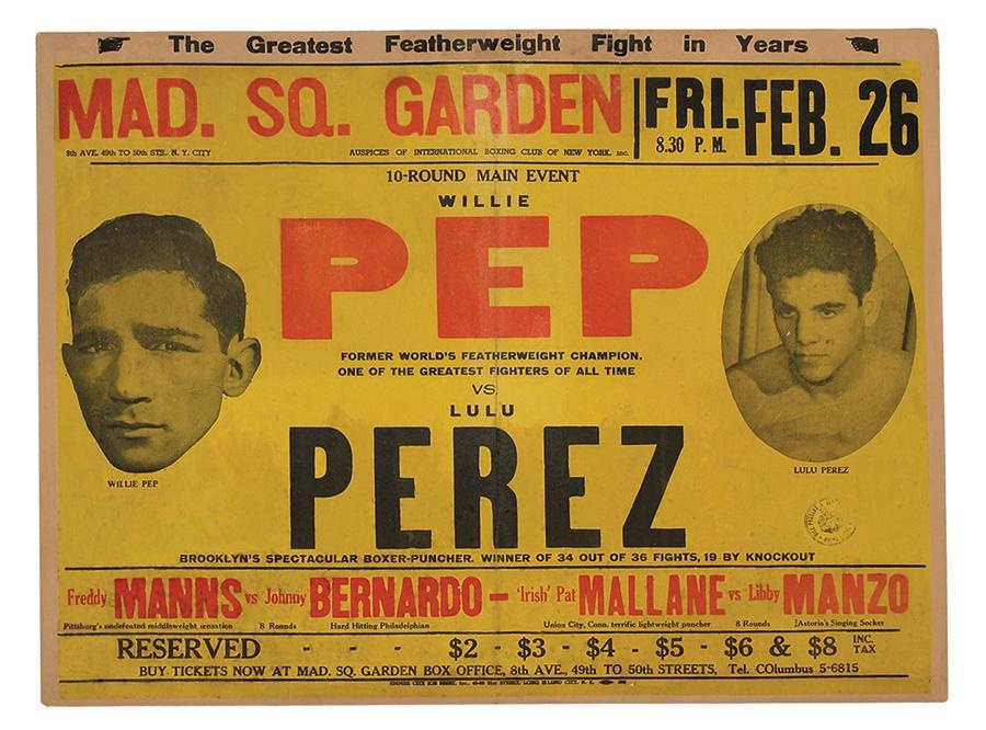 1954 Willie Pep vs. Lulu Perez On-Site Fight Poster