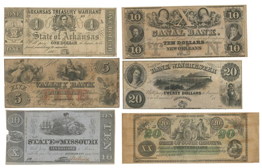 Civil War Era Confederate States Currency Collection (47)
