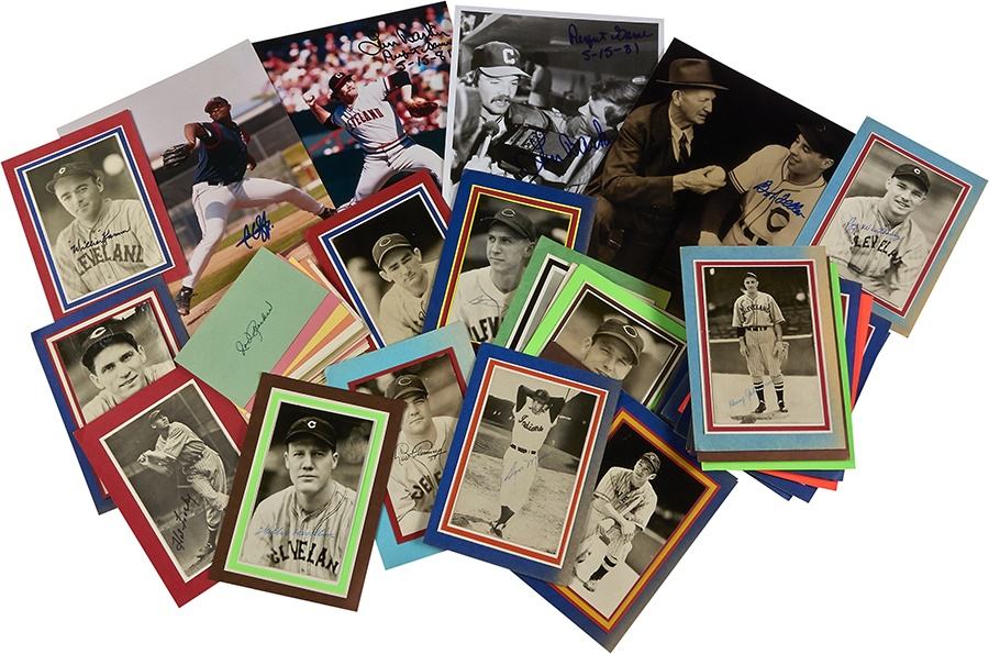 Cleveland Indians Signed Jim Rowe Photo & 3x5 Cards (70)