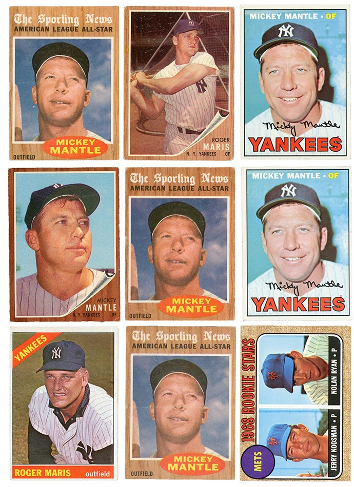 1950s 1960s Baseball Card Collection Including Mickey Mantle