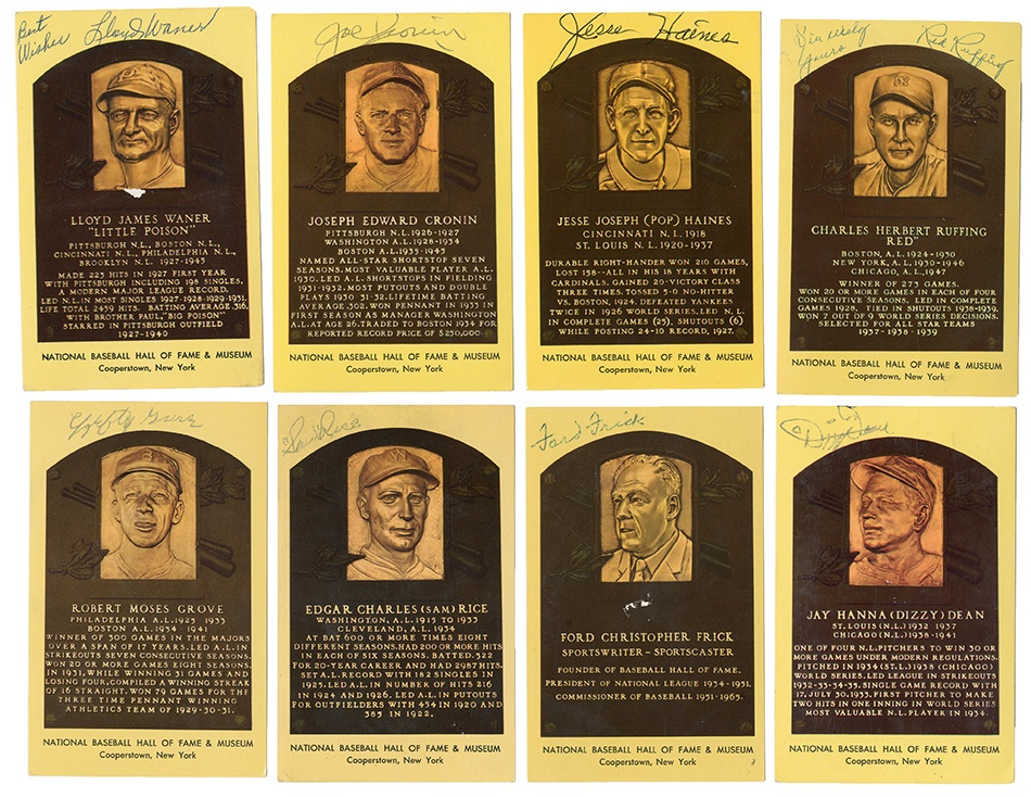 Yellow HOF Plaque Collection Including Dizzy Dean (39)