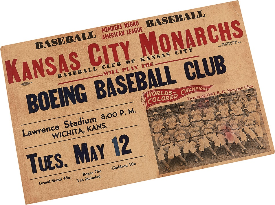1941 World Colored Champions Kansas City Monarchs Advertising Poster