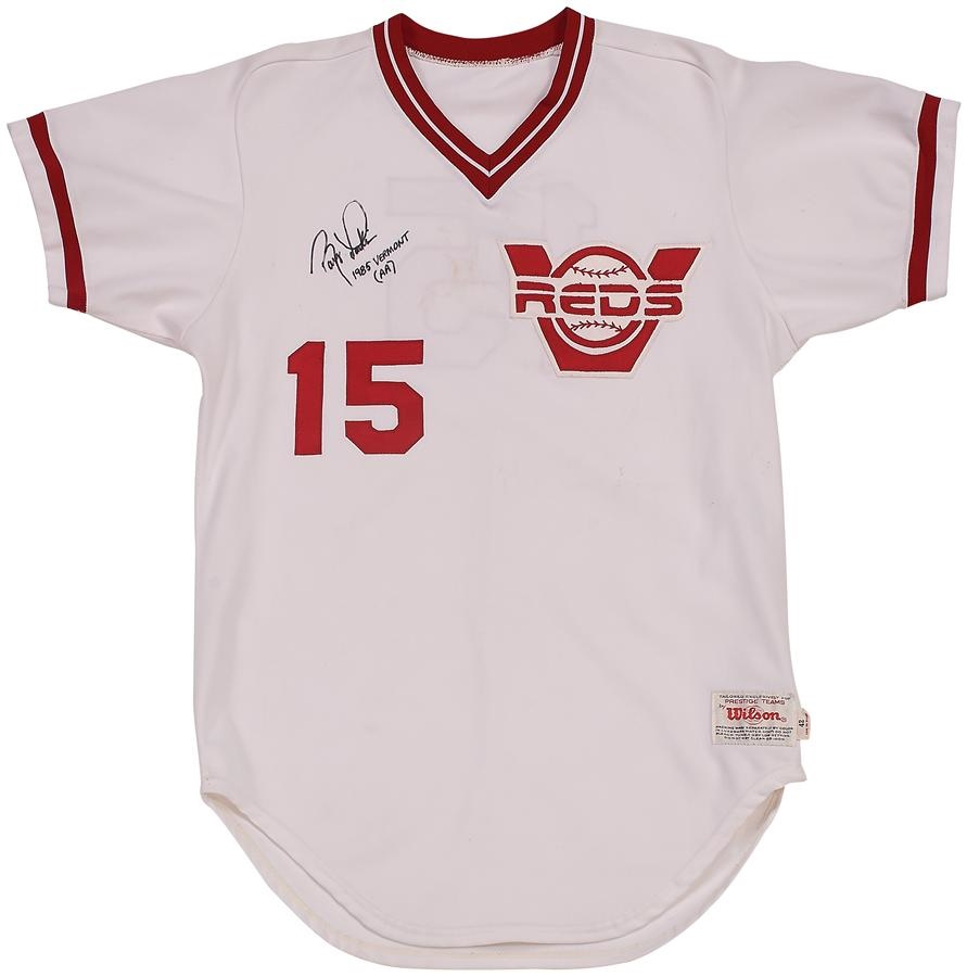 best website 6793a 2808a 1985 Barry Larkin Vermont Reds Game Worn Jersey