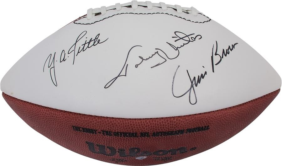 huge discount 86c1b 1ddc9 Y.A. Tittle, Jim Brown and Johnny Unitas Signed Football