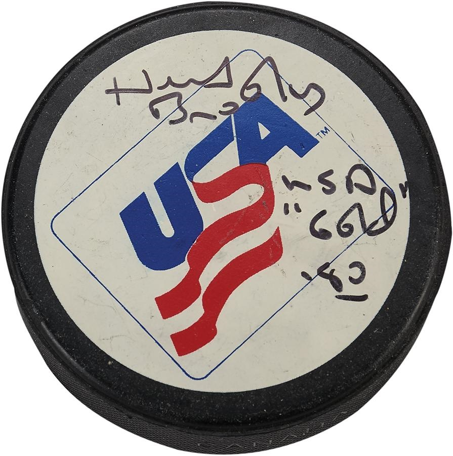 Herb Brooks Signed USA Puck