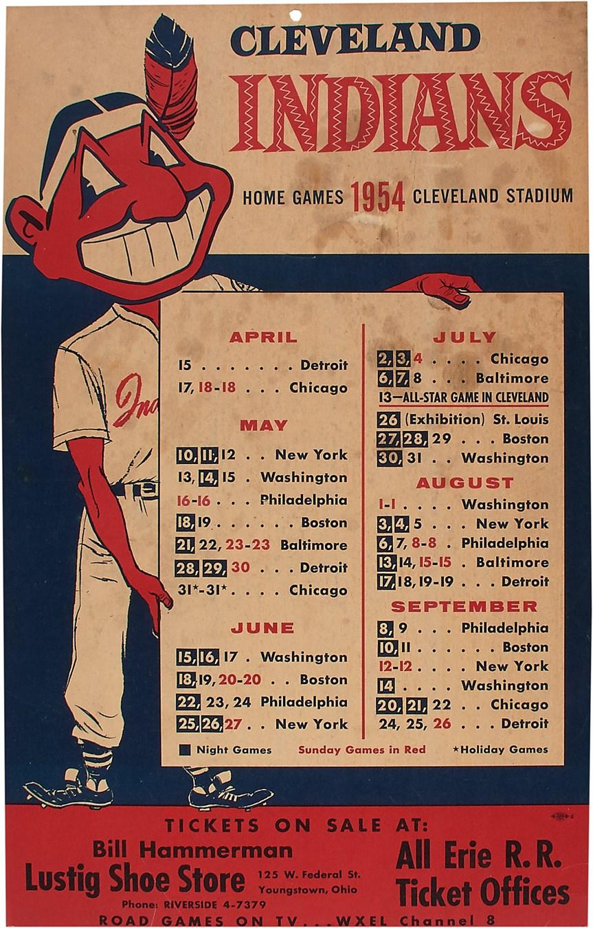 1954 A L  Champion Cleveland Indians Cardboard Sign