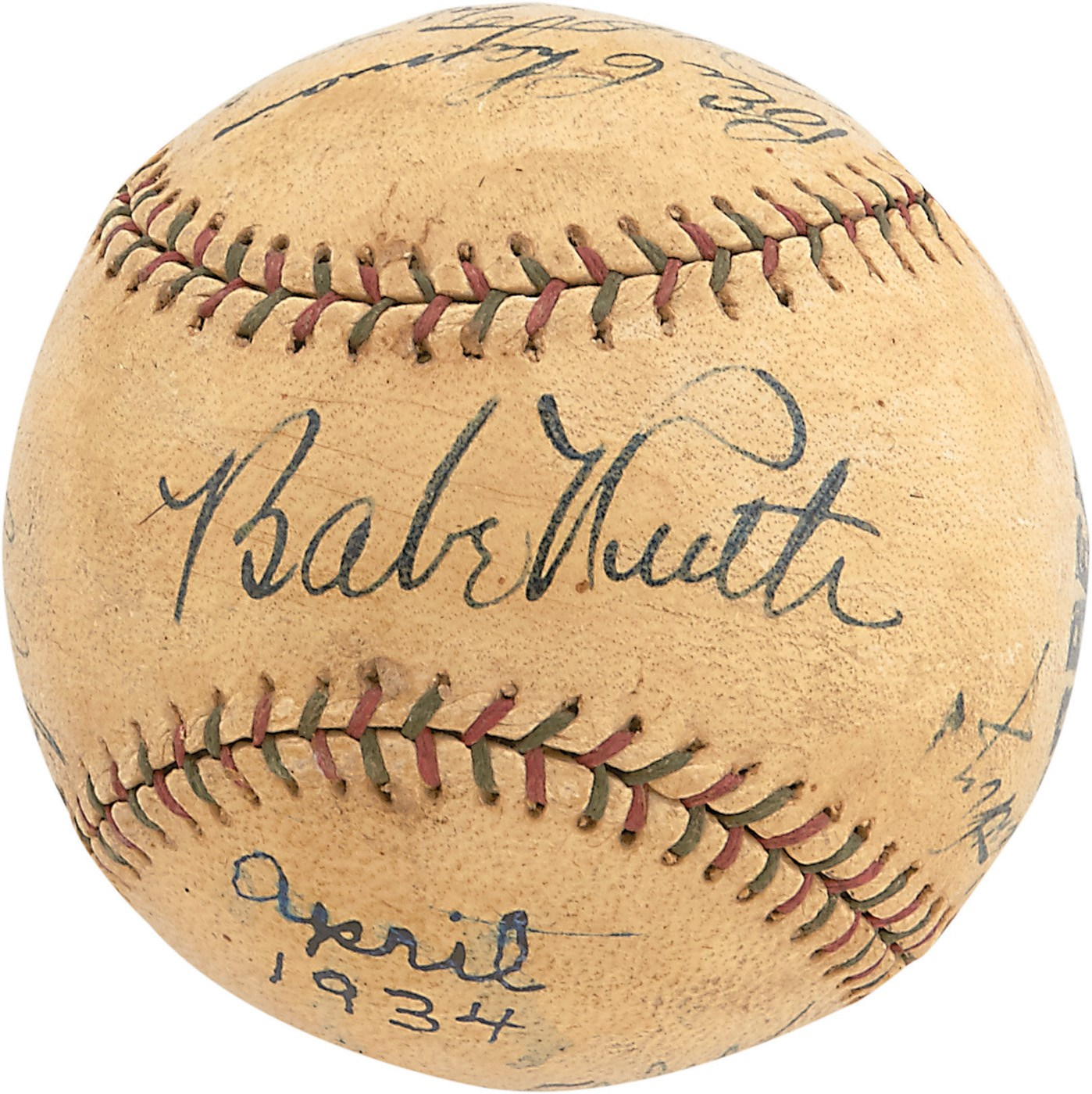 1934 New York Yankees Team-Signed Baseball w/High Grade Babe Ruth & Lou Gehrig (PSA)