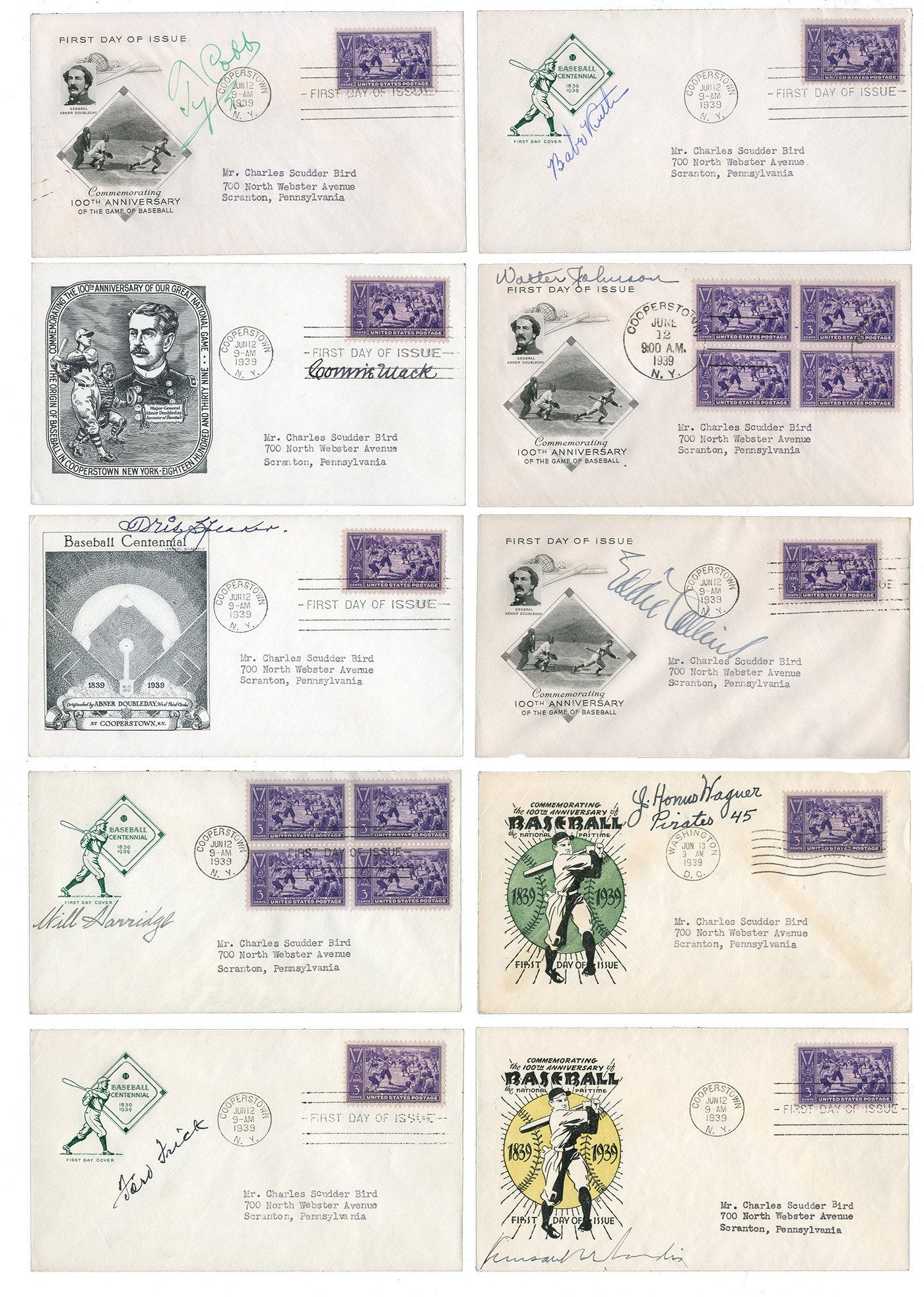 1939 Baseball Hall of Fame First Day Covers Signed by Original Inductees and More (10)