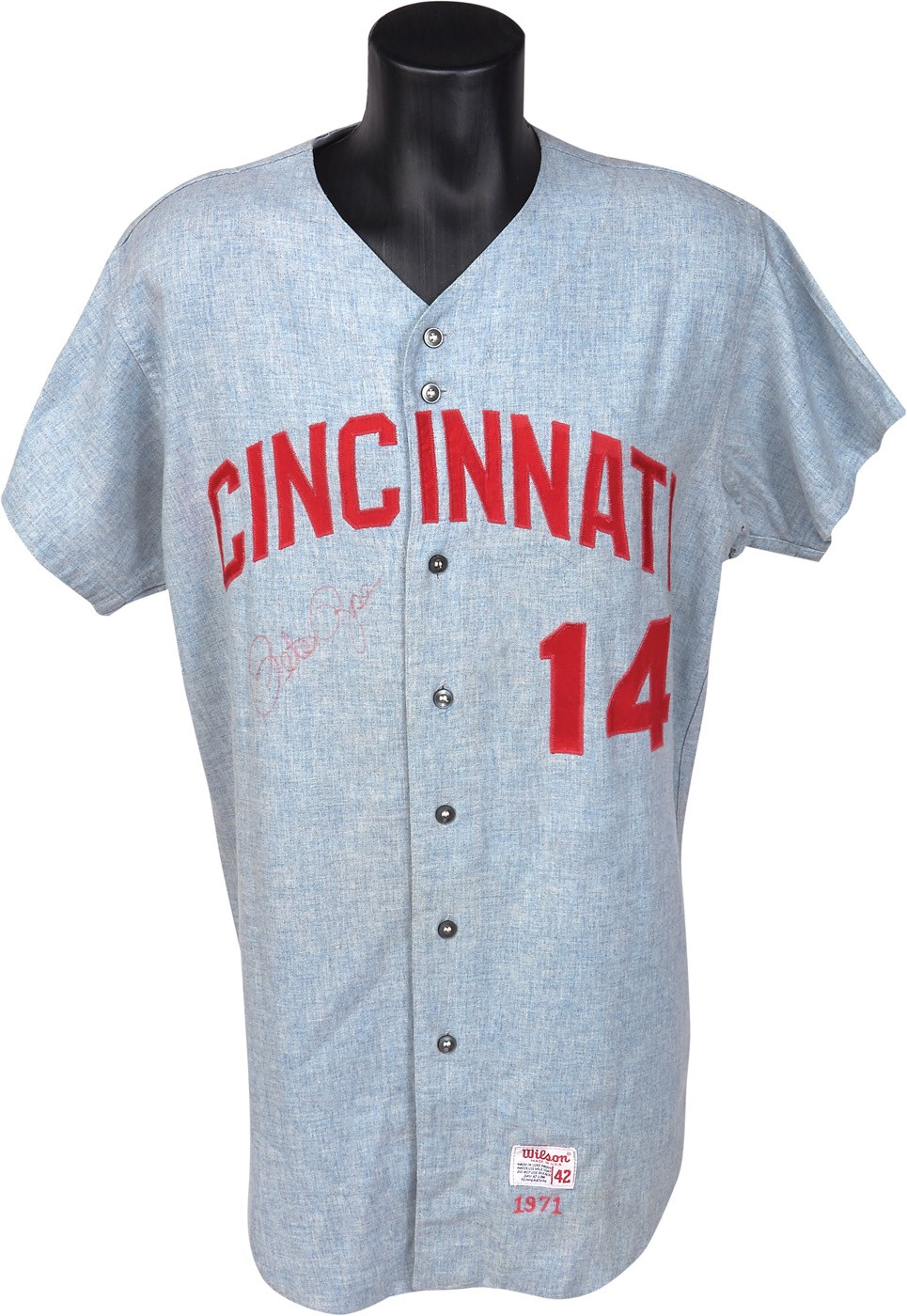 1971 Pete Rose Cincinnati Reds Game Worn Jersey - Possibly Worn In 1970 World Series (MEARS 9.5)