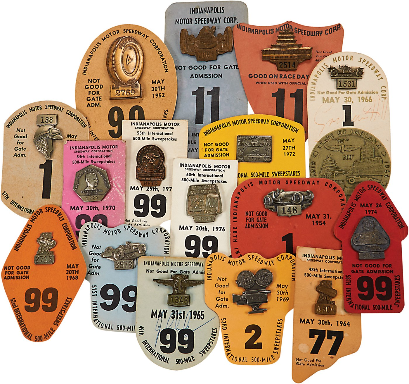 1947-2015 Near Complete Run of Indianapolis 500 Badges & Pit Passes (130+)
