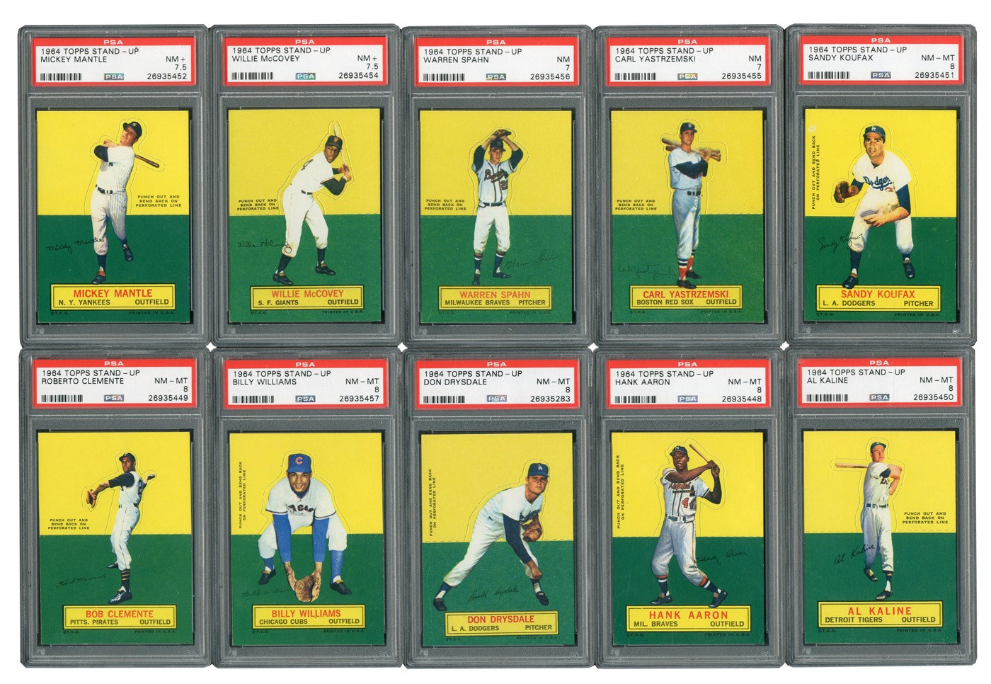 1964 Topps Stand-Up HIGH GRADE Complete Set with (18) PSA Graded!