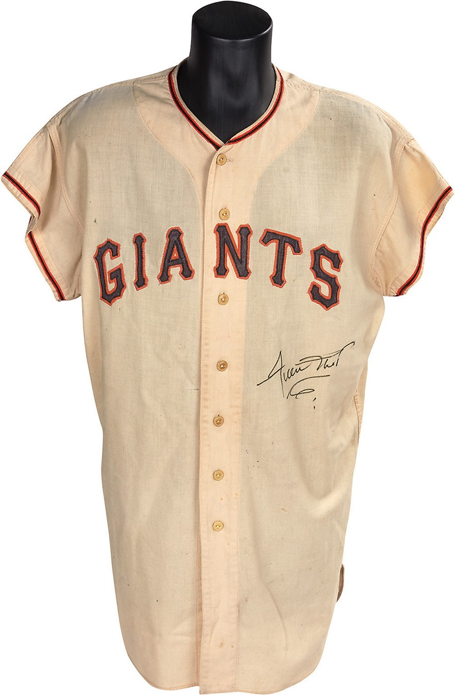 brand new 82803 9c9ae 1957 Willie Mays New York Giants Game Worn Jersey from His ...