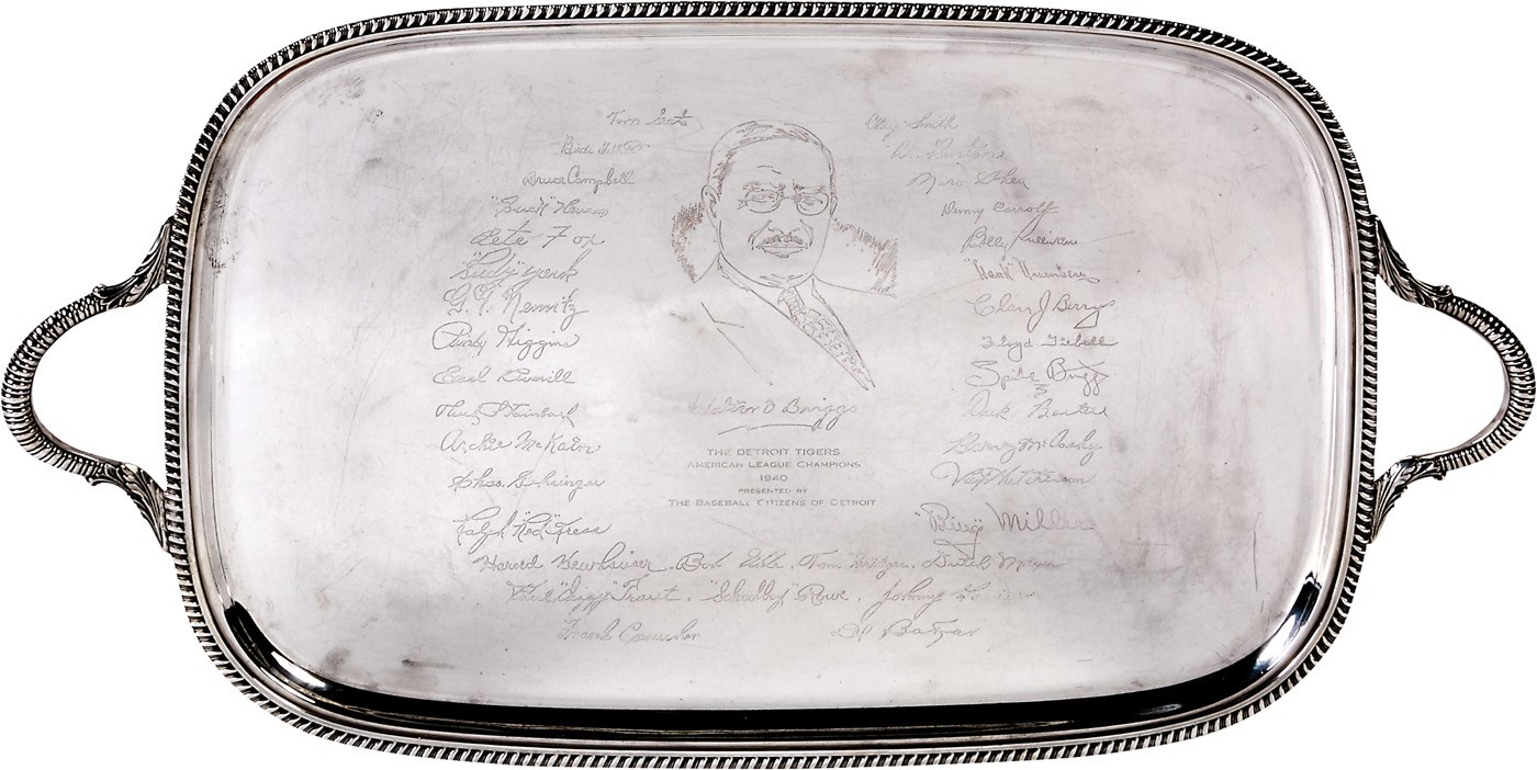 1940 A.L. Champion Detroit Tigers Silver Tray Presented to Bennie Oosterbaan
