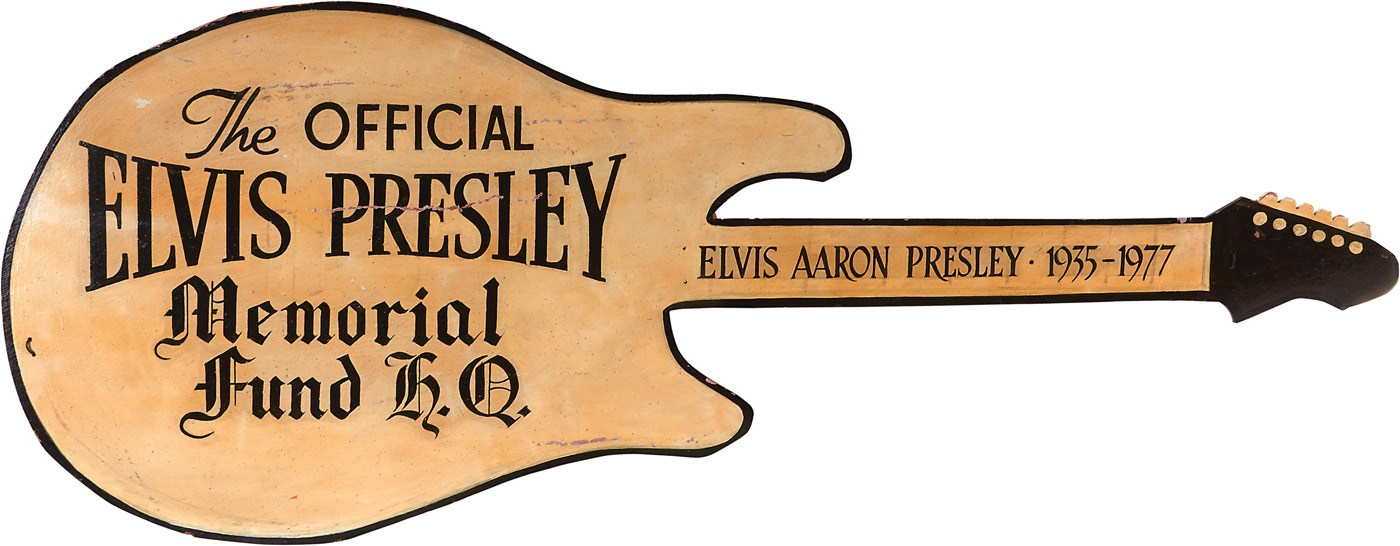 HUGE Figural Guitar Wood Sign for The Official Elvis Presley Memorial Fund