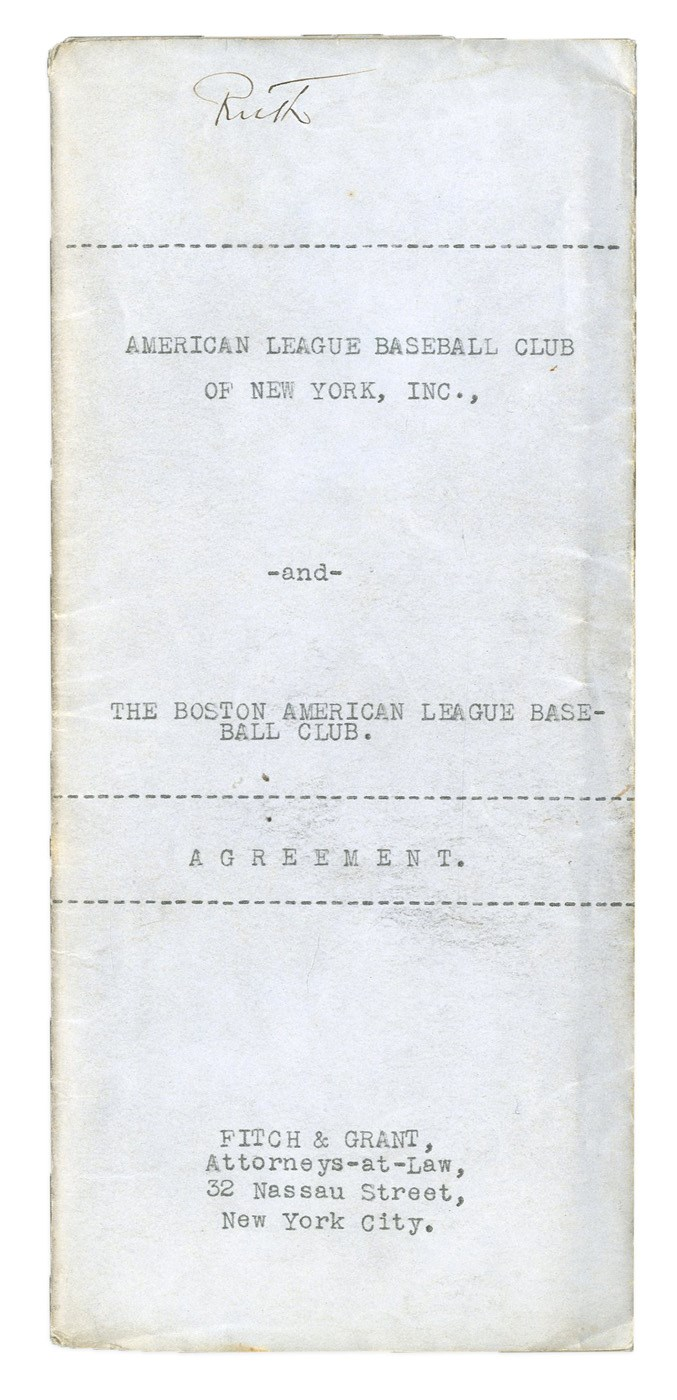 Sale of Babe Ruth from Boston Red Sox to New York Yankees Contract - Most Important Transaction in Sports History (PSA)