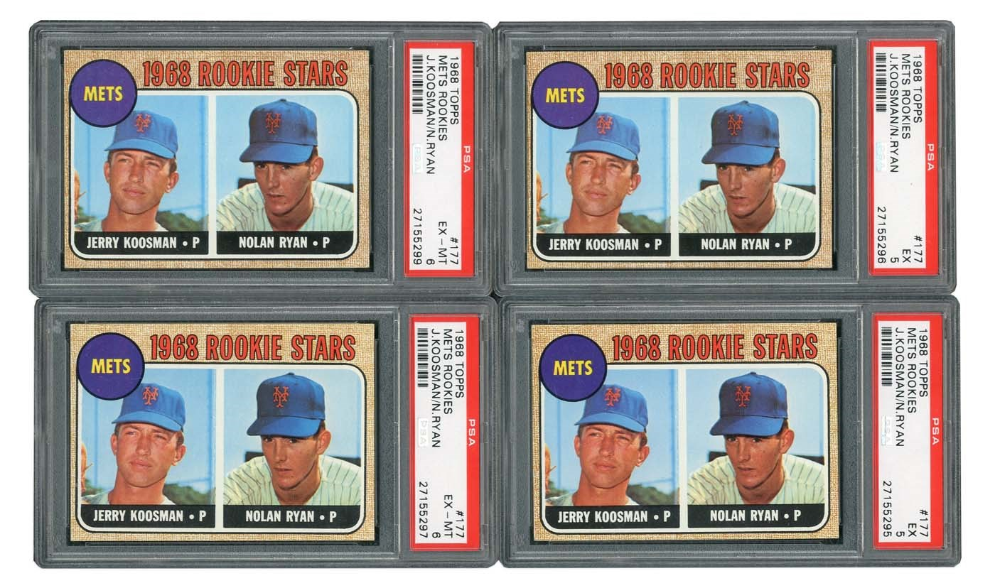 1968 Topps 177 Nolan Ryan Rookie Card Quartet Of Psa Graded