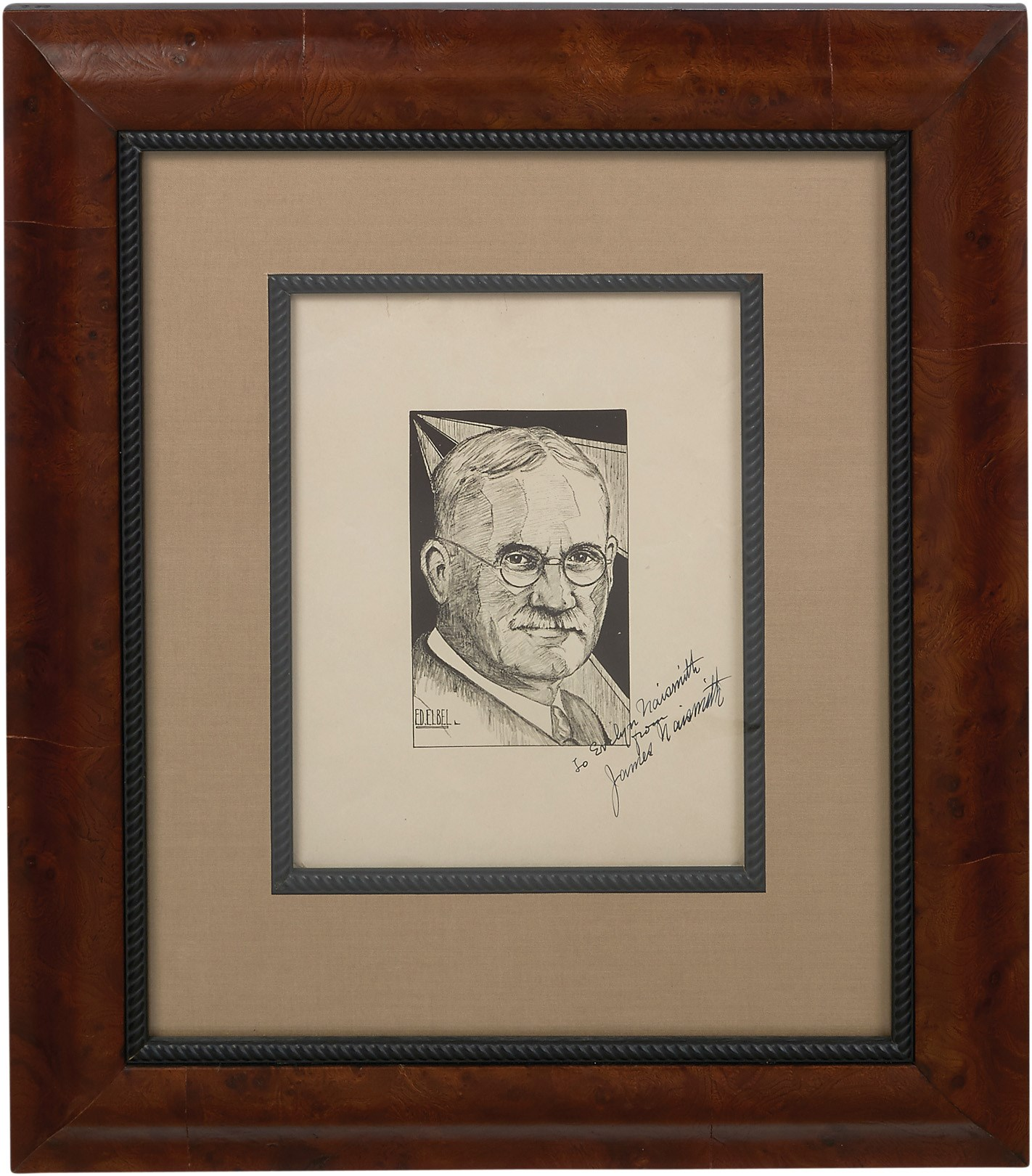 1936 James Naismith Signed Photograph to His Wife (JSA)