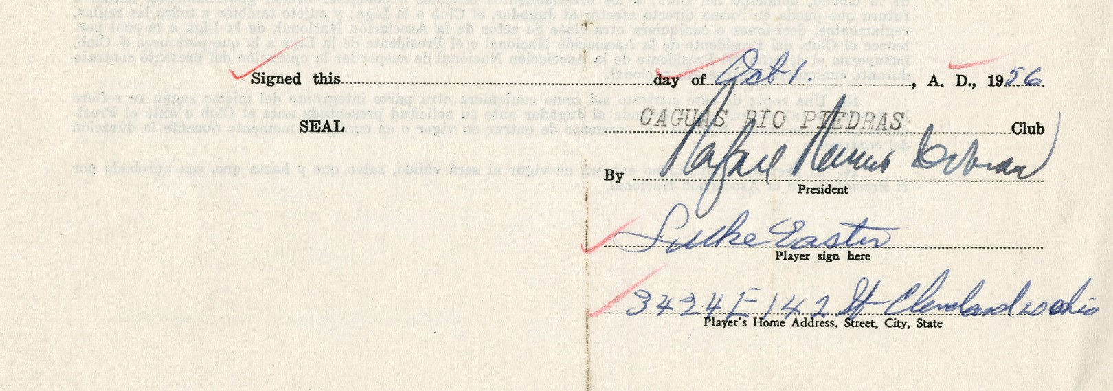 1956-57 Luke Easter Signed Baseball Contract & Signed Letter