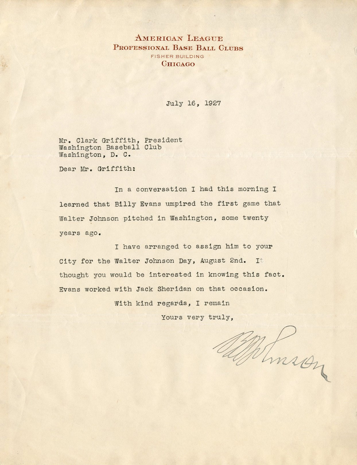 1927 Ban Johnson Signed Walter Johnson Day Letter to Clark Griffith (PSA)