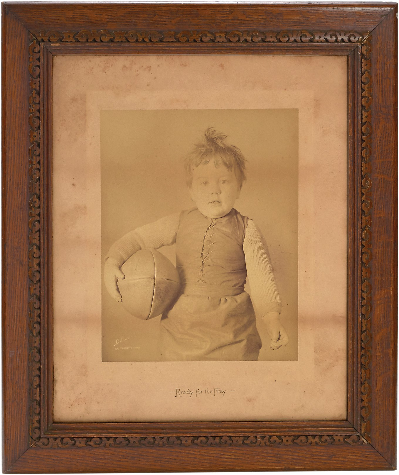 1893 Victorian Football Photo on Original Mount of Union Suited Child Mascot