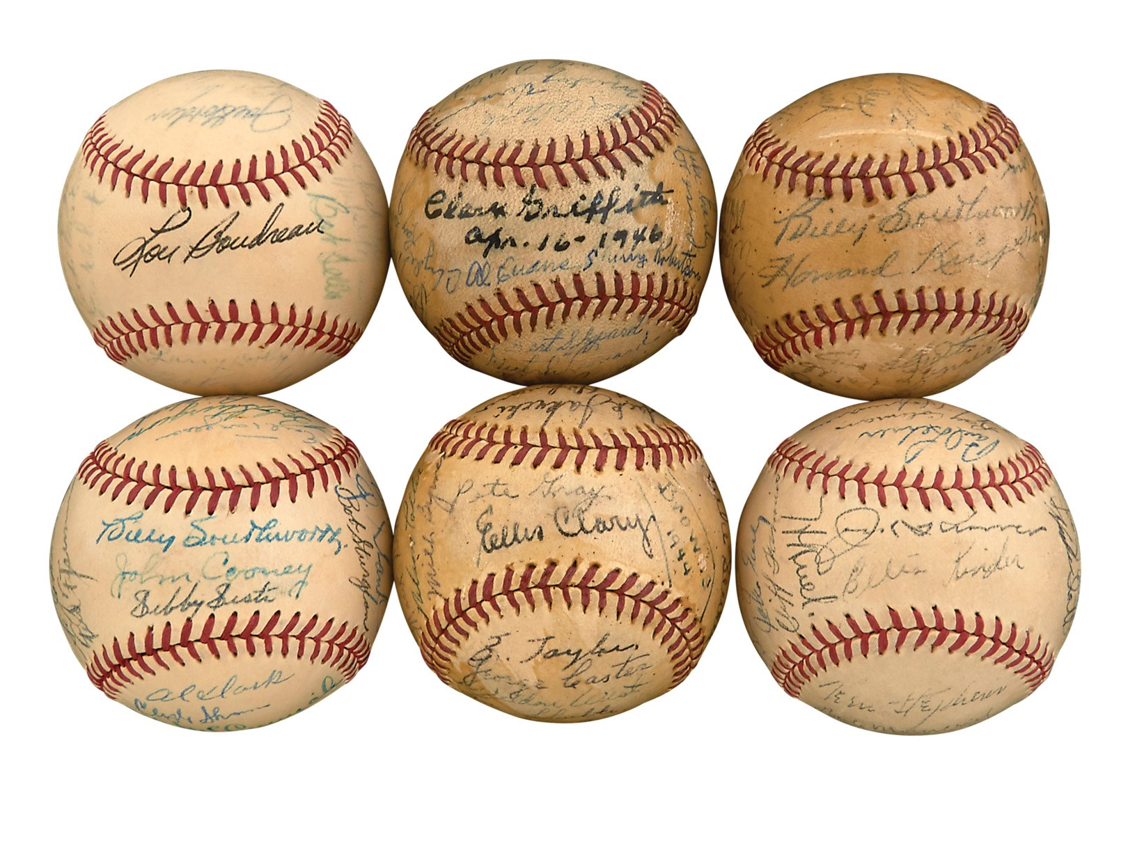1940s-50s Team-Signed Baseball Collection of Six (All PSA)