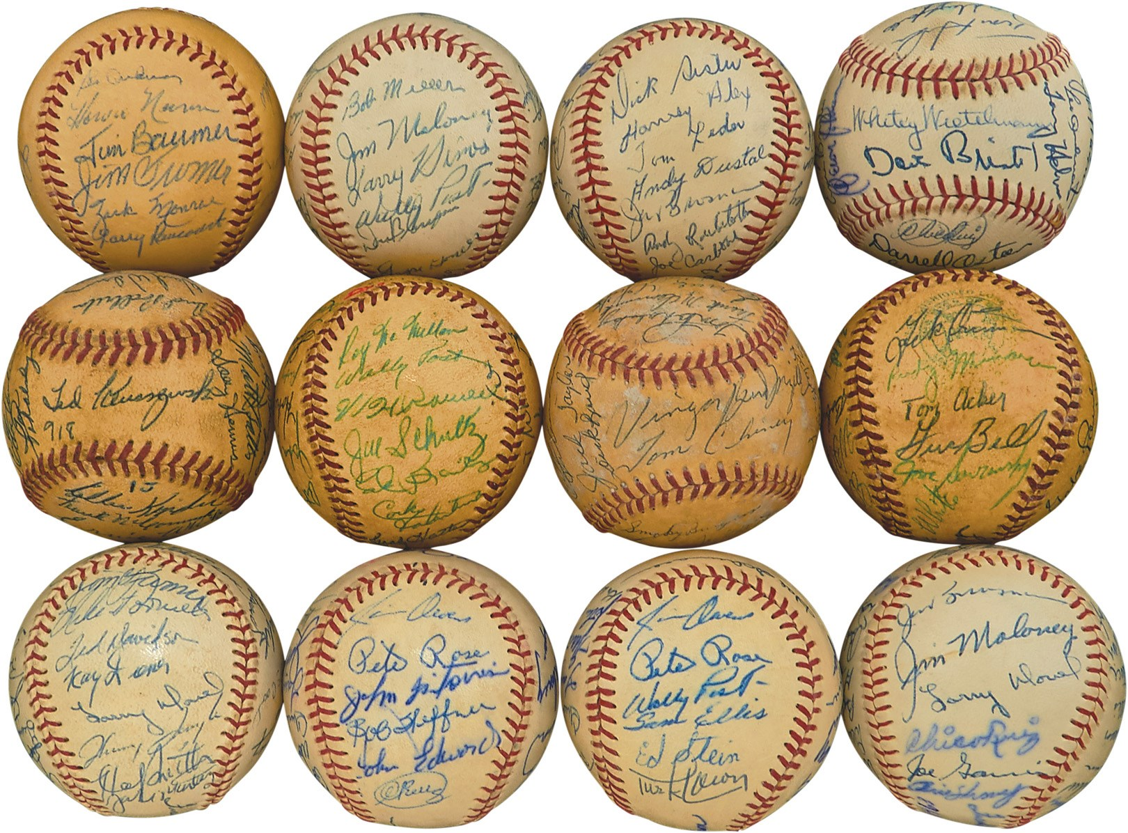 1954-67 Cincinnati Redlegs Team-Signed Baseballs w/(2) 1963 Rose Rookies (12)