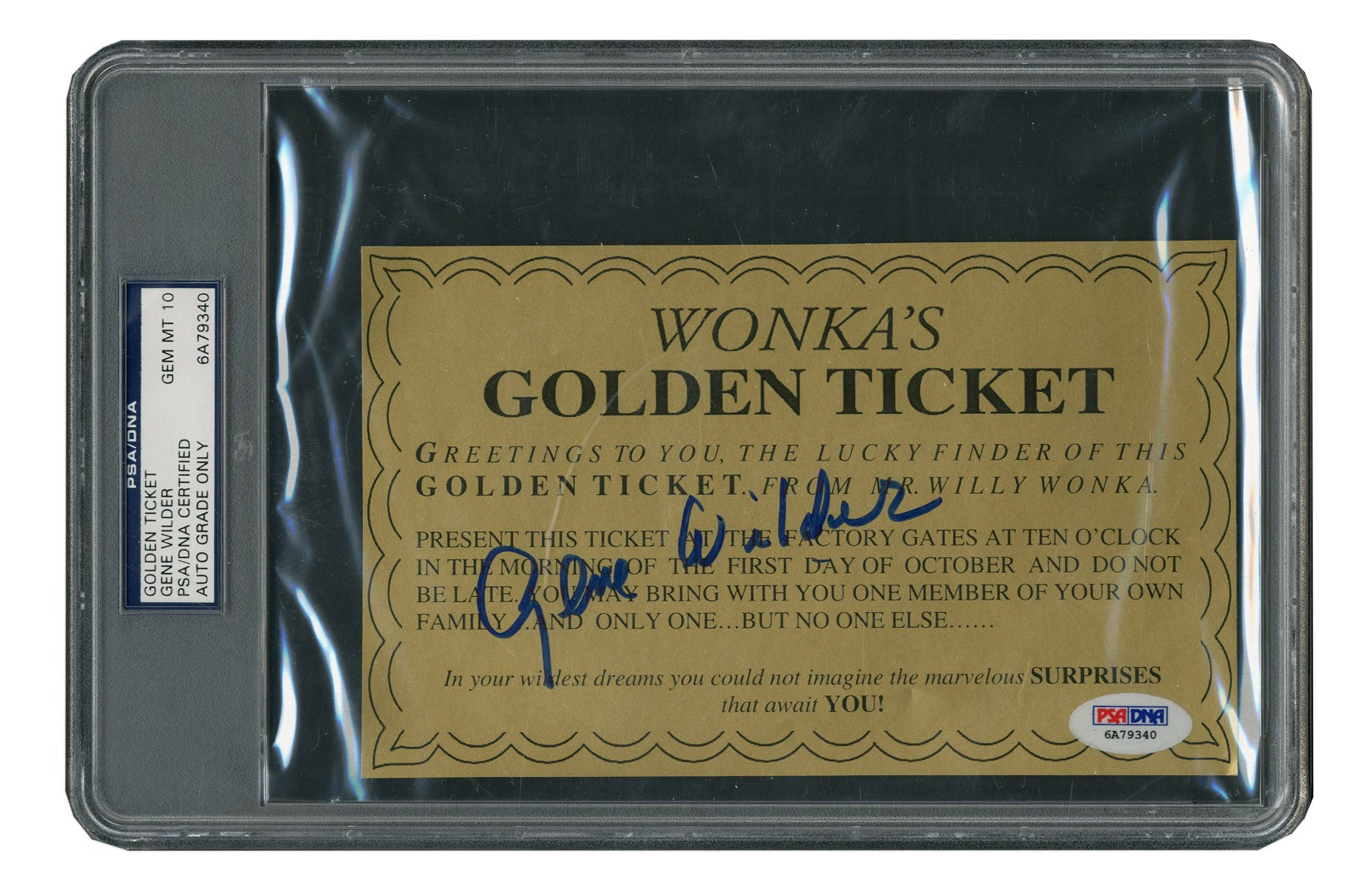 Willy Wonka Golden Ticket Signed By Gene Wilder (PSA GEM MT 10)
