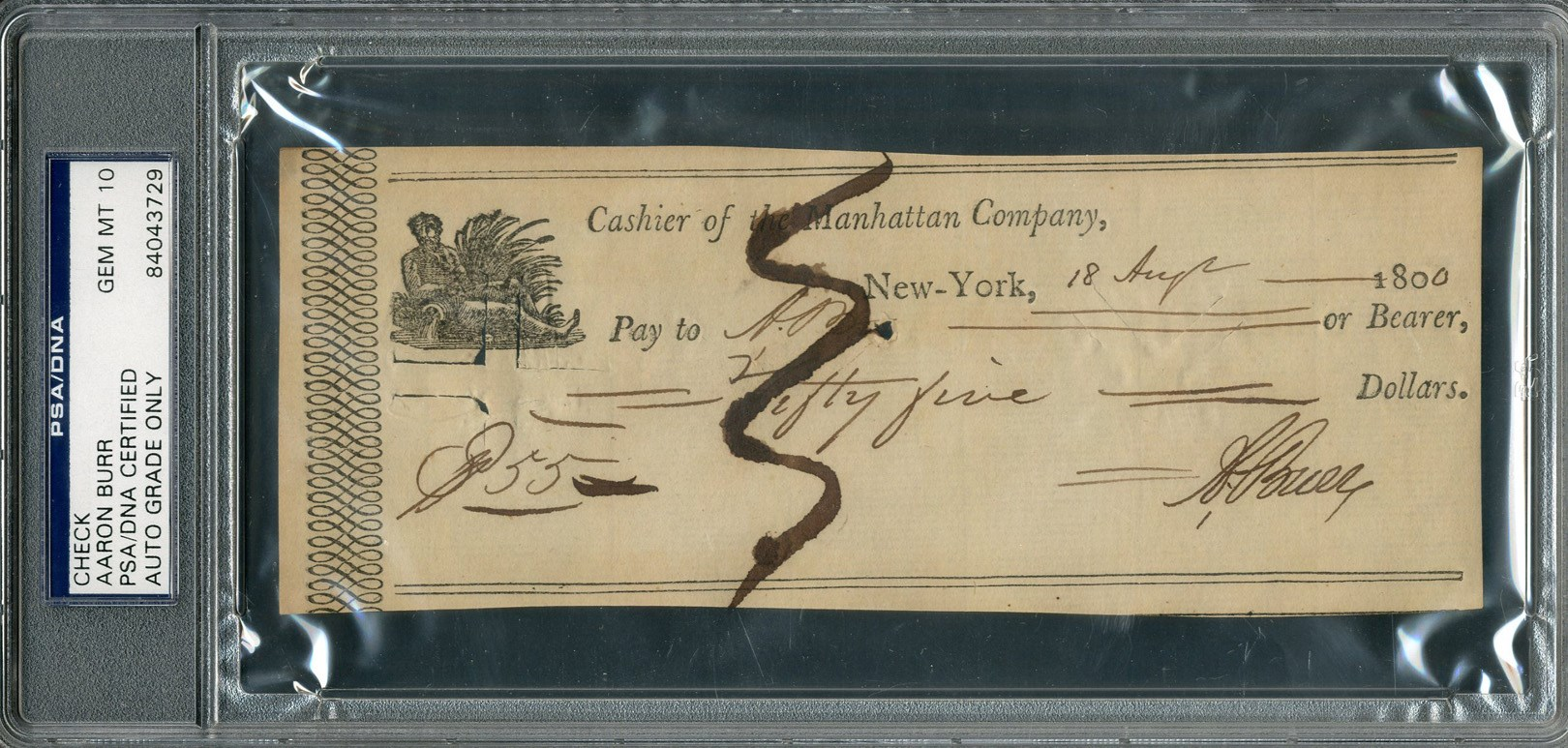 1800 Aaron Burr Signed Check (PSA GEM MT 10)